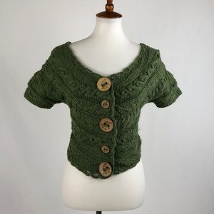 Anthropologie Moss Green Cable Knit Crop Sweater